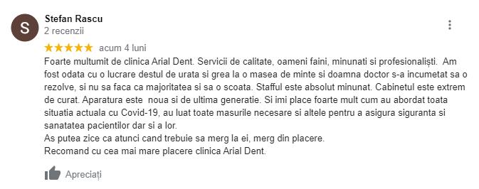 recenzie arial dent clinică stomatologică cluj 1
